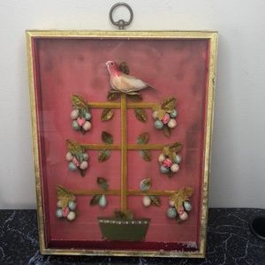 Vintage 1950's partridge in a pear tree shadow box